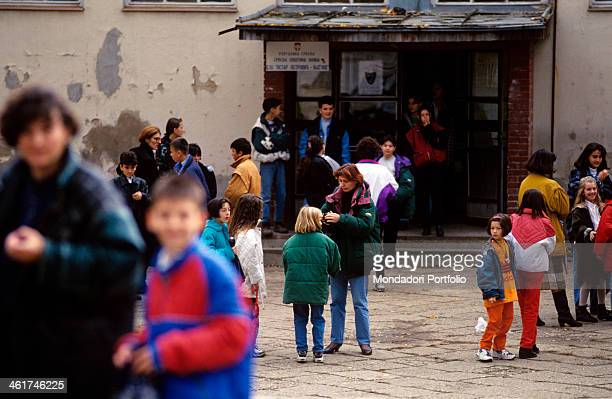 Children leaving an elementary school after the war in Bosnia and Herzegovina. East New Sarajevo, 1997