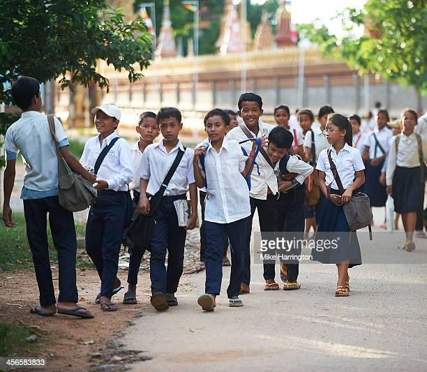 Children leaving school in Siem Reap.