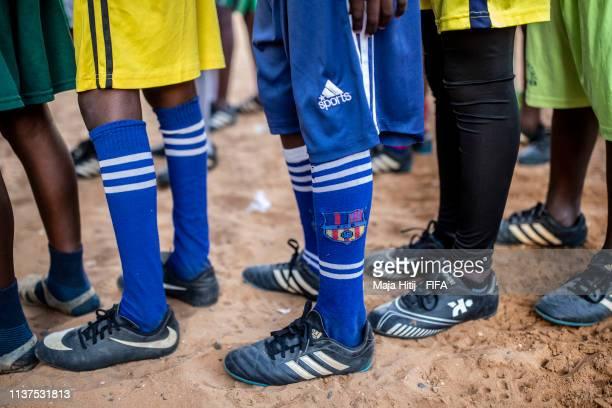 Children line up during a FIFA Grassroots schools program on January 17 2019 in Dakar Senegal