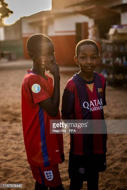Children look on during a FIFA Grassroots schools programme on January 15 2019 in Dakar Senegal