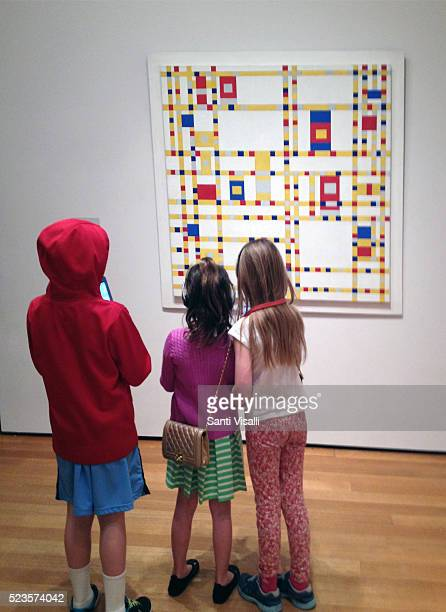 Children looking at a Piet Mondrian painting on March 9 2016 in New York New York