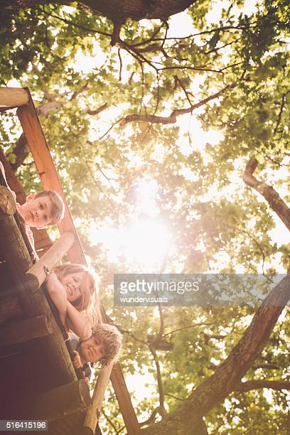 Children looking over the edge of treehouse with sun flare