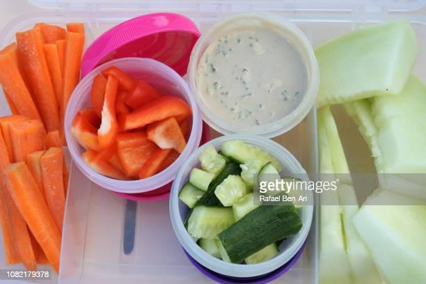children lunch box full of vegetarian food - rafael ben ari stock pictures, royalty-free photos & images