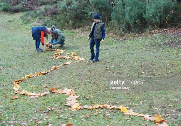 Children making a path out of autumn leaves