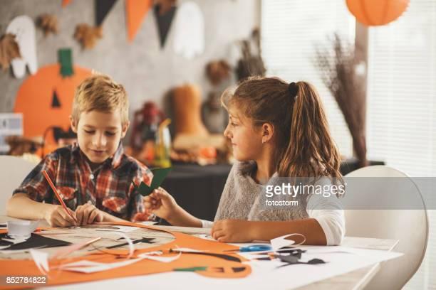 Children making decorations