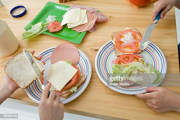 Children making sandwiches