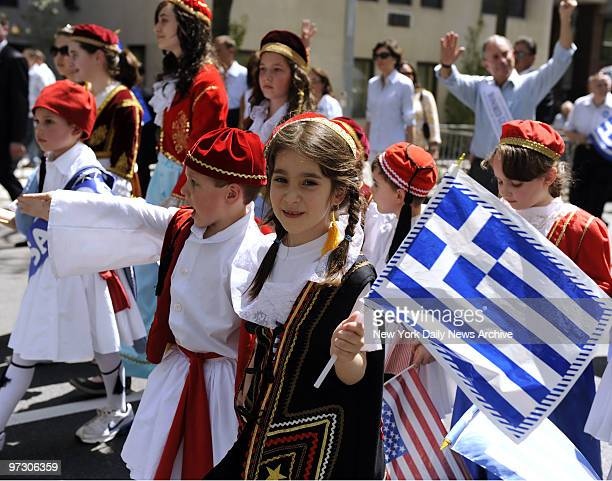 Children marching in the Greek Independence Day parade along 5th Avenue in Manhattan New York on April 26 2009