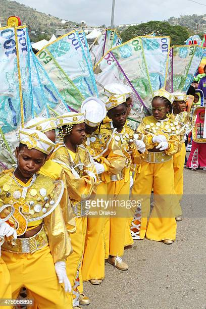 Children masquerade make a line during the Republic Bank Children's Carnival Parade on March 01 2014 in Port of Spain Trinidad