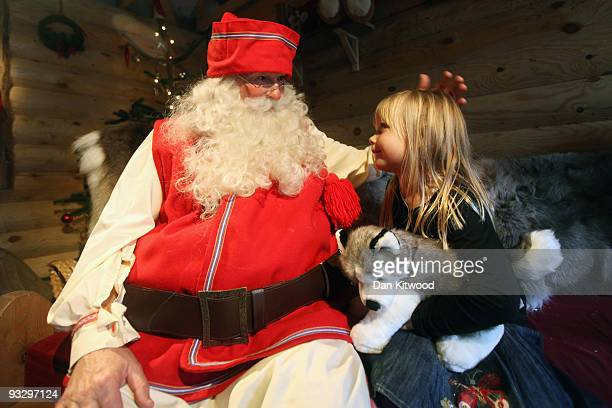 Children meet Santa Claus at Lapland UK on November 20 2009 in Lamberhurst England Lapland UK looks to offer a Christmas experience set in a snow...
