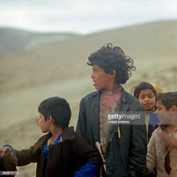 Children of a big family at bedouin camp at Israel late 1970s