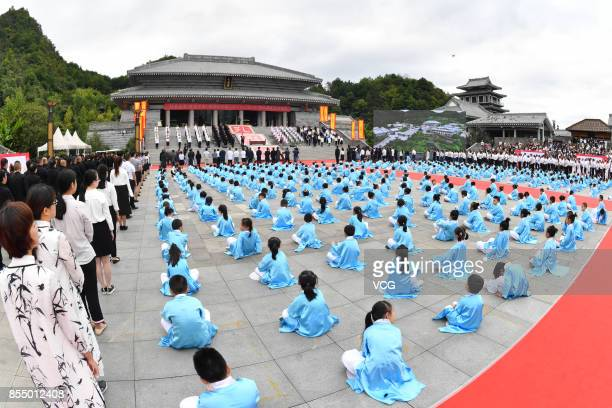 Children of a Confucius institute attend a Confucius Memorial Ceremony on September 28 2017 in Guiyang Guizhou Province of China Children in Guiyang...