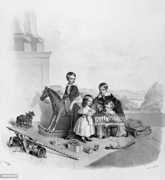 Children of archduchess Sophie of Austria, mother of Emperor Franz Joseph I. About 1840. [Kinder von Erzherzogin von oesterreich Sophie, Mutter von...