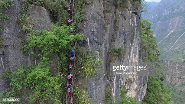 Children of Atule'er Village climb on the vine ladder on a cliff on their way home in Zhaojue county in southwest China's Sichuan province on May 14...
