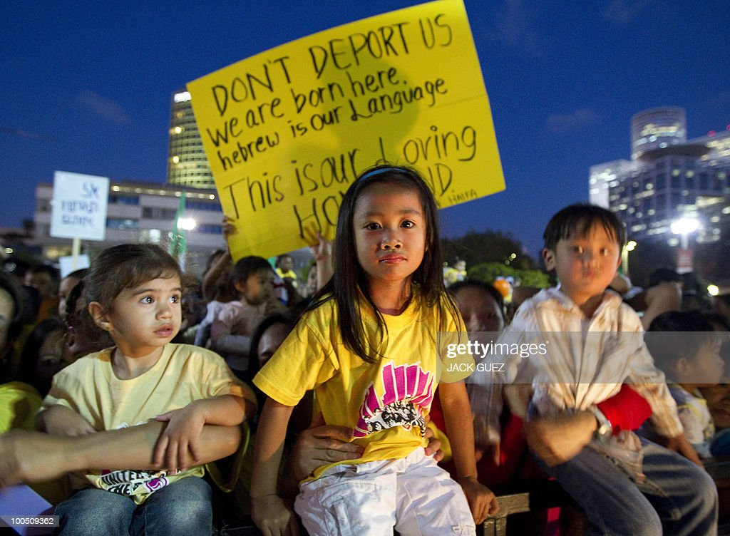 Children of immigrants take part in a protest in Tel Aviv calling on the Israeli government to allow them to stay in Israel on May 25, 2010.