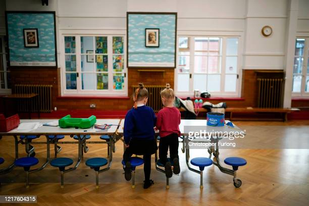 Children of key workers take part in school activities at Oldfield Brow Primary School on April 08 2020 in Altrincham England The government...