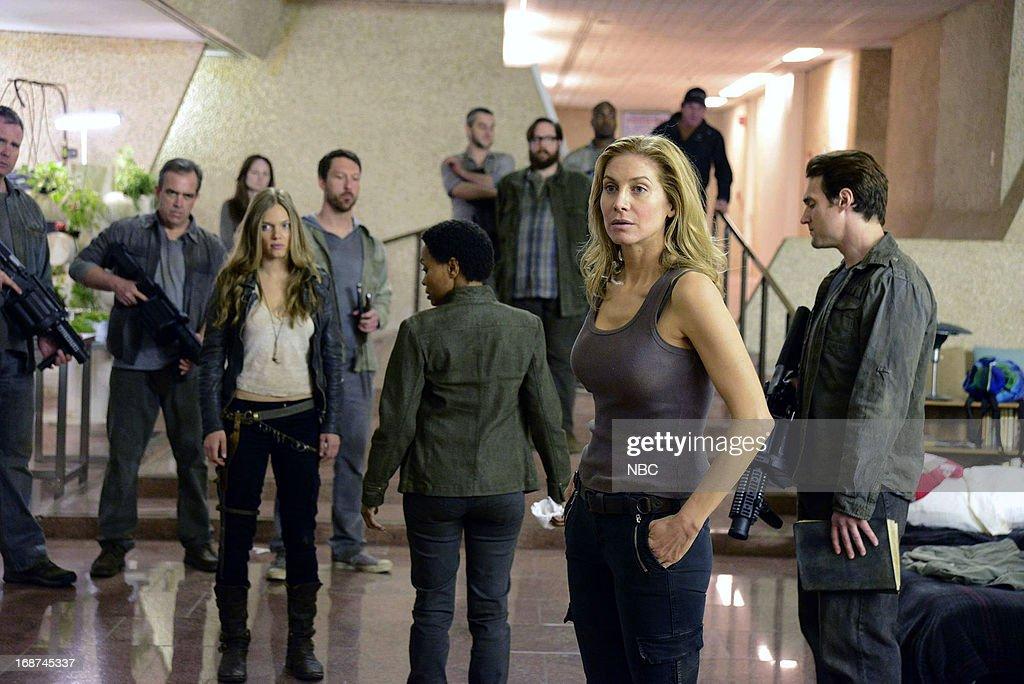 REVOLUTION -- 'Children of Men' Episode 119 -- Pictured: (l-r) Tracy Spiridakos as Charlie Matheson, Maria Howell as Grace Beaumont, Elizabeth Mitchell as Rachel Matheson --