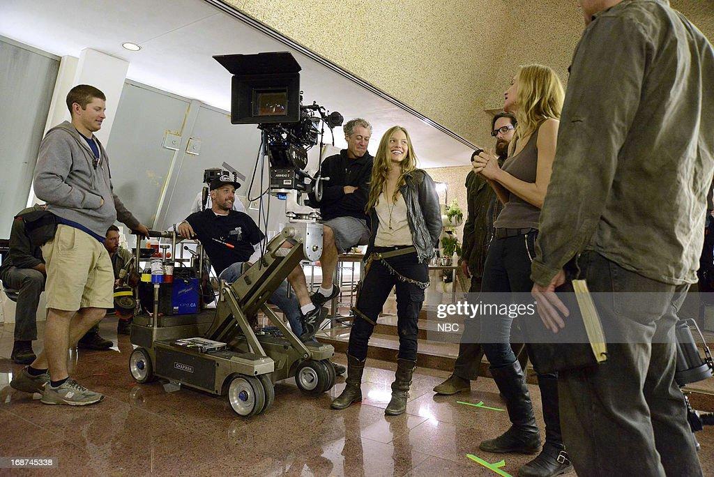 REVOLUTION -- 'Children of Men' Episode 119 -- Pictured: (l-r) Tracy Spiridakos as Charlie Matheson, Zak Orth as Aaron, Elizabeth Mitchell as Rachel Matheson --