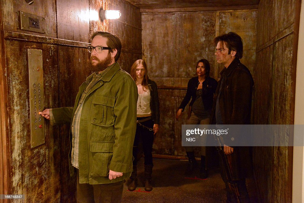 REVOLUTION -- 'Children of Men' Episode 119 -- Pictured: (l-r) Zak Orth as Aaron, Tracy Spiridakos as Charlie Matheson, Daniella Alonso as Nora, Billy Burke as Miles Matheson --