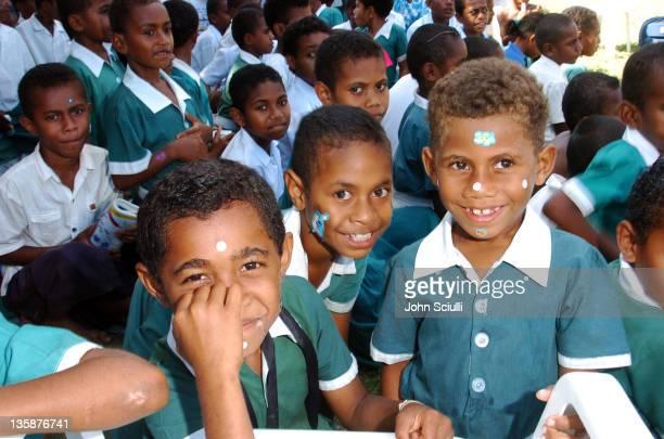 Children of Mome village during Kelly Slater Invitational Fiji Day 2 Mome Village Tour in Mome Village Tavarua Island Fiji