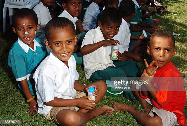 Children of Mome village during Kelly Slater Invitational Fiji Day 2 Mome Village Tour in Mome Village Tavarua Island Fiji