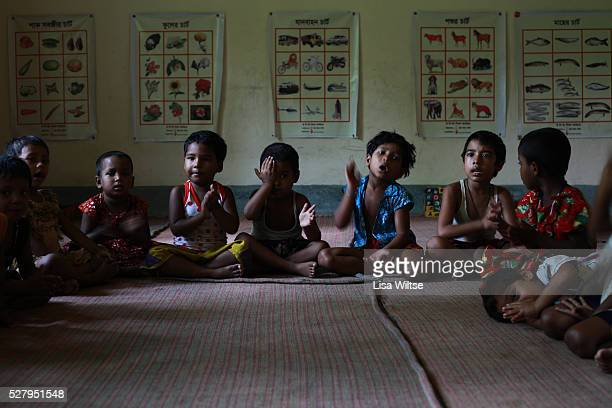 Children of prostitutes from the Daulatdia brothel in a classroom run by Save the Children in Faridpur Bangaldesh The brothel is the largest in...