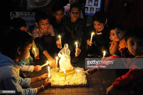 Children of Smbhavna trust clinic paying tributes on the eve of 31st anniversary of Bhopal Gas tragedy on December 2, 2015 in Bhopal, India. Over...