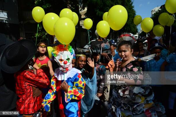 Children of the Bialik Rogozin school a campus in Tel Aviv hosting mostly children of immigrants and foreign workers celebrated the Jewish festival...