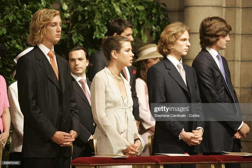 Children of the Monaco Royals attend the enthronement mass in Monaco Cathedral. Prince Albert II, 47, took over as ruler of the principality following the death of his father, Prince Rainier in April.