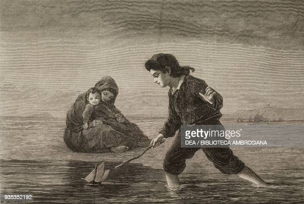 Children of the sea a child playing with a toy boat engraving from a watercolour by Lawrence Duncan illustration from the magazine The Illustrated...