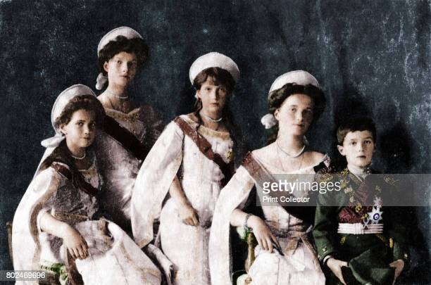 Children of Tsar Nicholas II of Russia c1910 Grand Duchesses Maria Tatiana Anastasia and Olga and the Tsarevich Alexei All were murdered together...