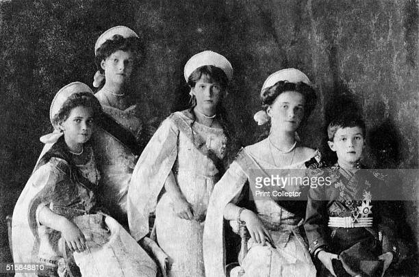 Children of Tsar Nicholas II of Russia circa 1910 Grand Duchesses Maria Tatiana Anastasia and Olga and the Tsarevich Alexei All were murdered...