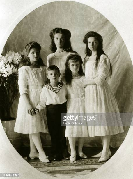 Children of Tsar Nicholas II Romanov of Russia and Empress Alexandra Feodorovna Romanova Grand Duchesses Maria Olga Anastasia Tatiana and Tsarevich...