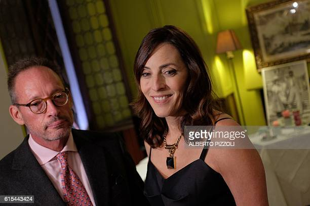 Children of US actor Gregory Peck Anthony Peck and Cecilia Peck Voll pose during an interview on October 18 2016 in Rome as part of the 11th Rome...