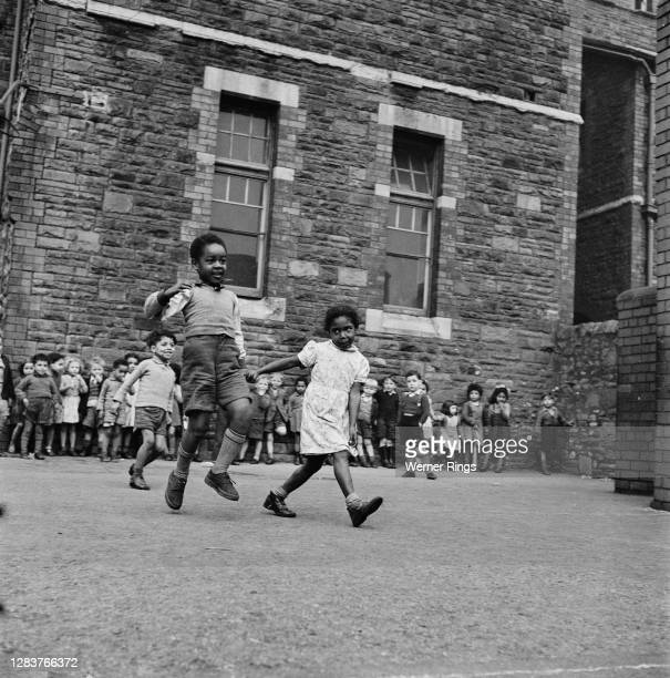 Children of various ethnic backgrounds at a school in Cardiff, south Wales, circa 1955.