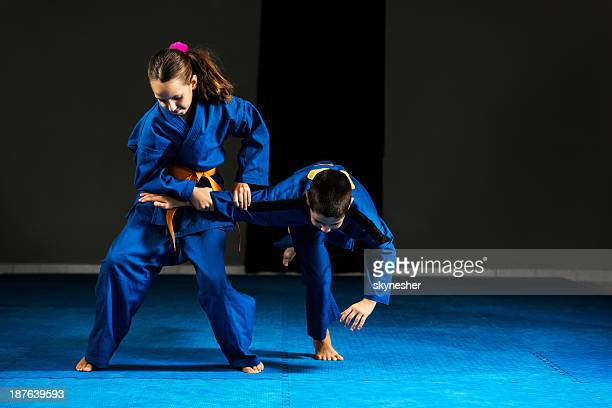 children on a karate training. - judo stock photos and pictures