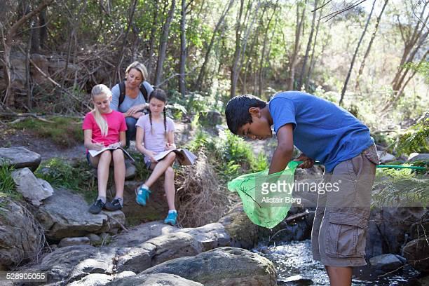 Children on a school field trip in nature