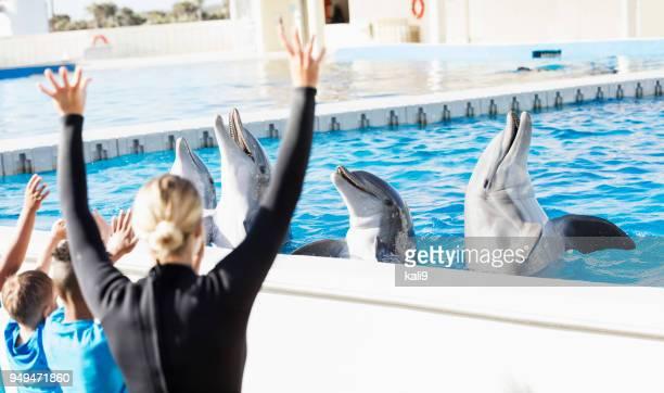 Children on field trip, dolphins, trainer at marine park