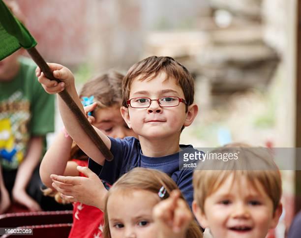 Children on miniature train ride