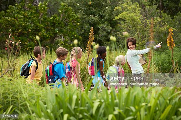 children on nature field trip - nature reserve stock pictures, royalty-free photos & images