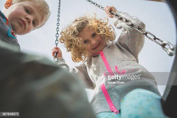 Children on Tire Swing