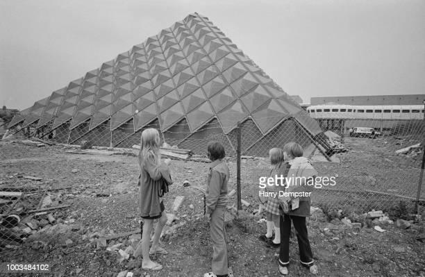 Children outside the former Bletchley Leisure Centre Milton Keynes Buckinghamshire UK 21st September 1973