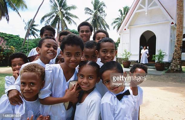 Children outside Wakaya village church.