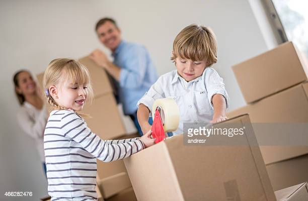 Children packing in boxes