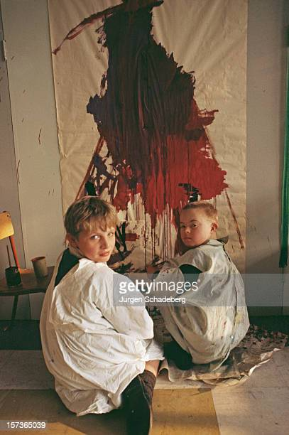 Children painting at the Hensol Castle Hospital for people with learning difficulties in south Wales 1967