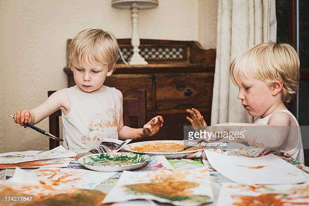 children painting pictures - art and craft stock pictures, royalty-free photos & images