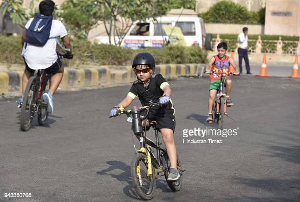 Children participate during Raahgiri day at Palam Vihar an event organized by MCG on April 8 2018 in Gurugram India Various activities seen such as...