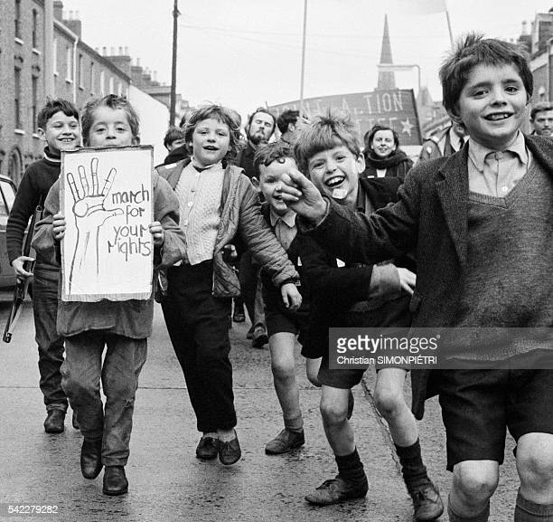 Children participate in a Civil Rights march in Belfast at the beginning of the 'Troubles'