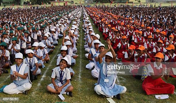 Children participate in Ek Sur Ek Taal programme on the occasion of Former Minister Pandit Jawahar Lal Neharu's Birthday in Allahabad