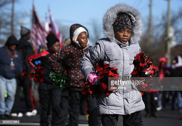 Children participate in the annual Martin Luther King Holiday Peace Walk and Parade January 18 2016 in Washington DC The nation observes the life and...