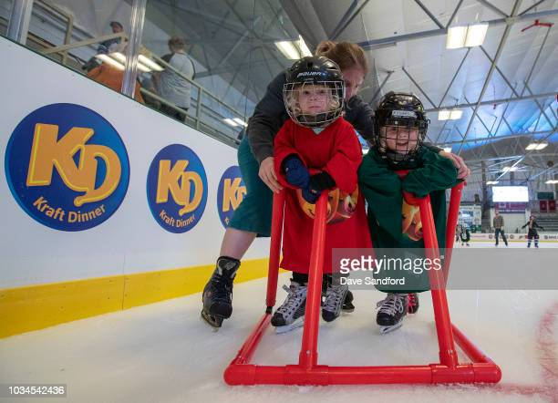 Children participate in the free skate during Kraft Hockeyville Canada on September 16 2018 at the Lucan Community Memorial Centre in Lucan Ontario...